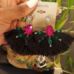 NEW Black fringe boho festival earrings